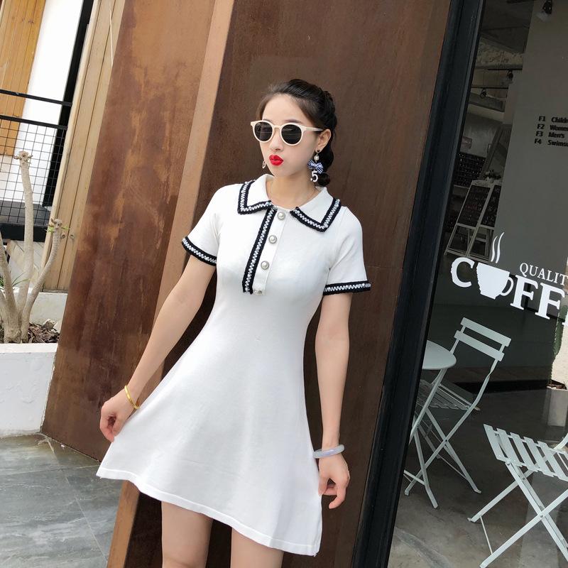 学生甜美小香风针织连衣裙2020新款夏显瘦领短袖裙子