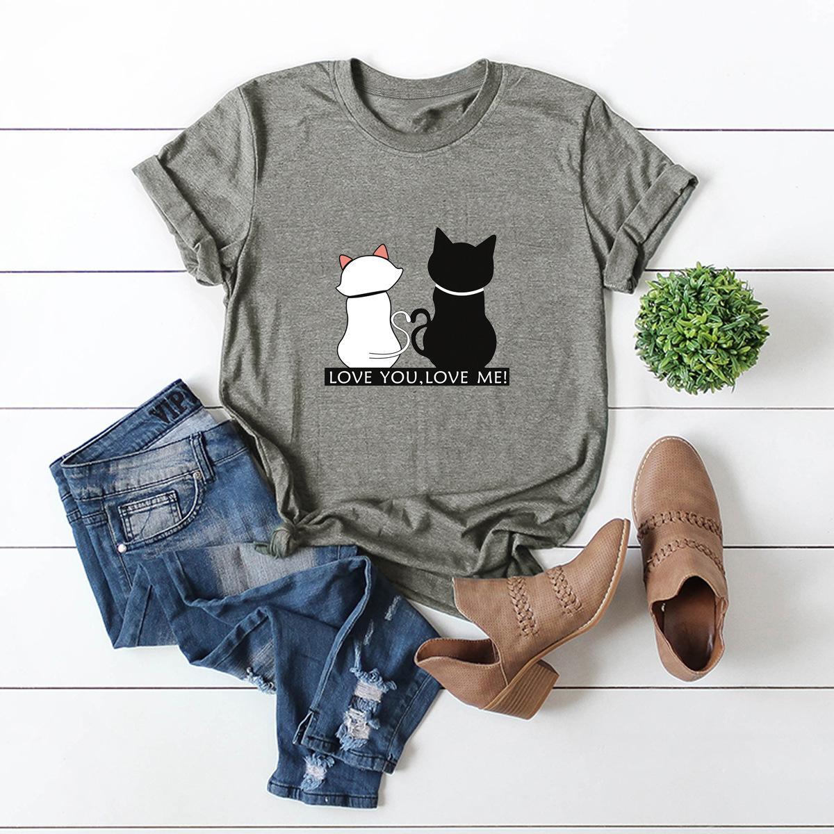 New fashion simple love you cat animal print cotton shortsleeved womens Tshirt NHSN206403