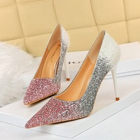 9219-35 Europe and sexy high heel with shallow mouth pointed color matching color gradient sequins high-heeled shoes women's shoes