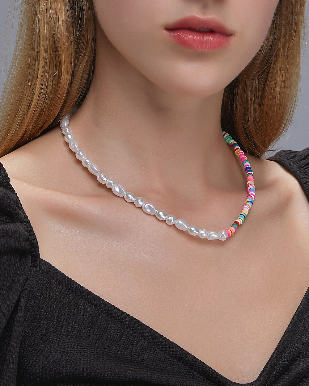 Fashion natural pearl  women's   colored soft clay necklace NHDP253117
