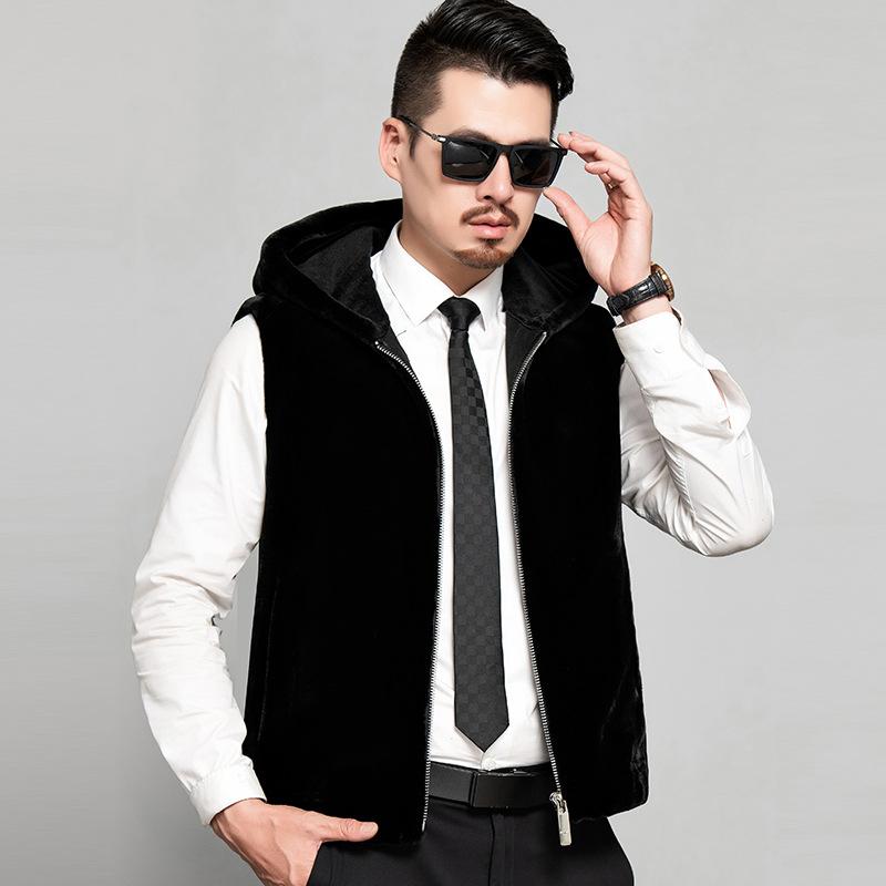 冬季新款进口美国天鹅绒水貂皮大衣男士皮草外套整貂皮马甲夹特价