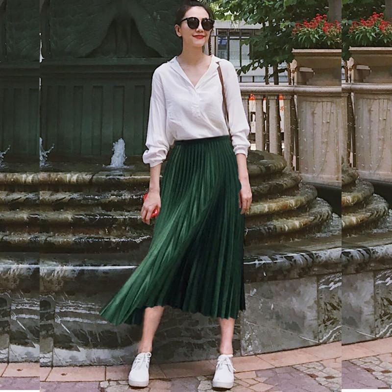 高圆圆明星同款中长款百褶半身裙欧美复古墨绿色长裙光泽感裙子女