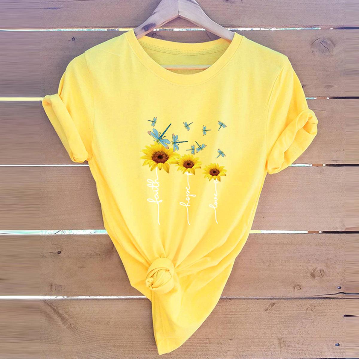 faith sunflower print cotton short-sleeved t-shirt NSSN3036