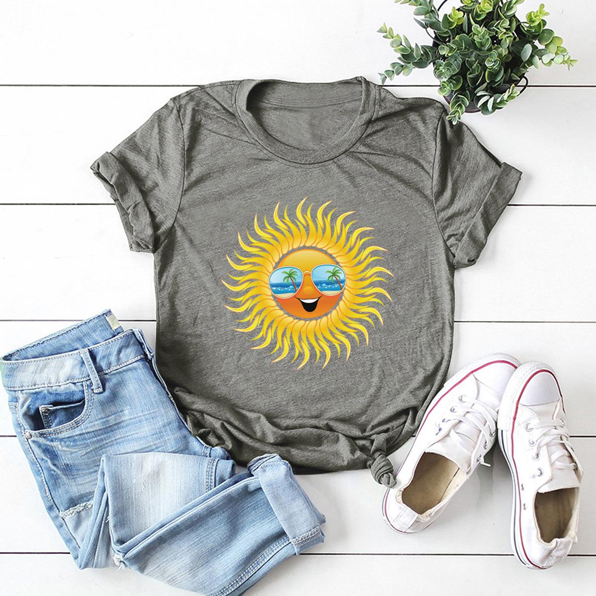 fun sun print cotton short-sleeved t-shirt women NSSN2683