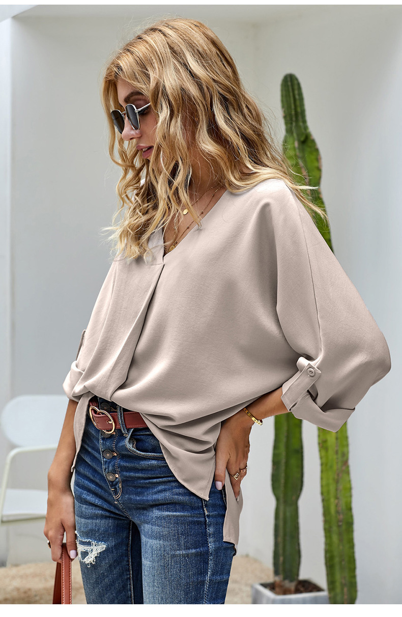 women new solid color fashion v-neck pullover chiffon shirt  NSSI2964