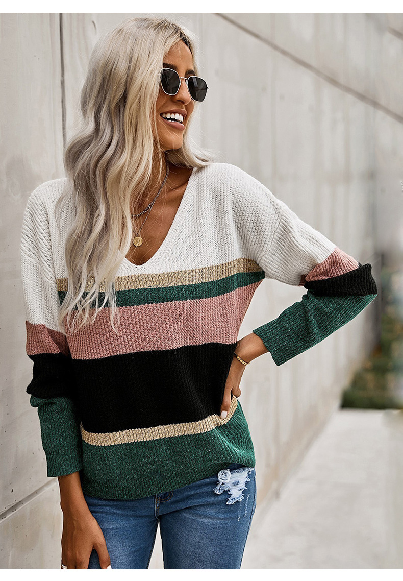 striped contrast long-sleeved v-neck knitted sweater  NSSI2379