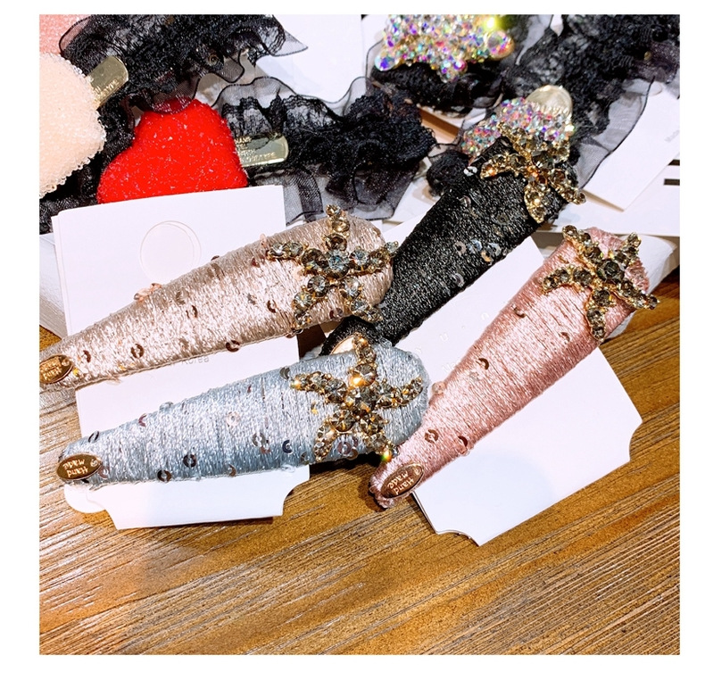 Metal hair clip Japanese and Korean fashion full diamond duckbill clip wild bangs clip retro flashing hair clip NHHD200307