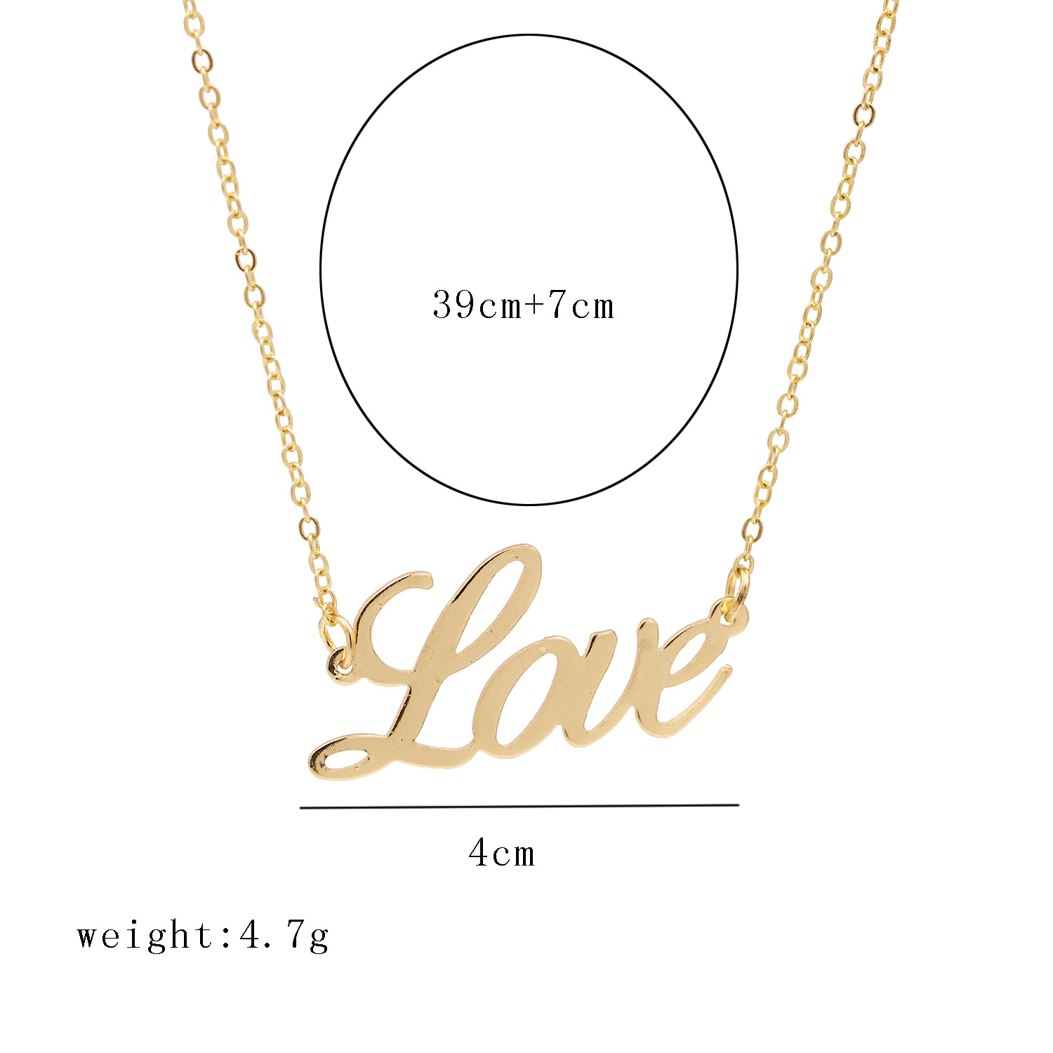 Korean fashion simple necklace alloy English letter clavicle chain hot selling wholesale nihaojewelry NHJJ222383