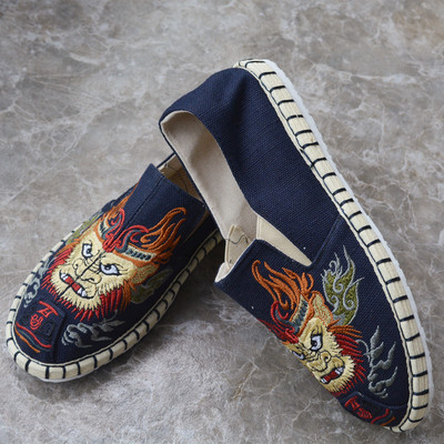 Tai chi kung fu shoes for men and women embroidered shoes foot care hemp shoes rubber antiskid soft soled shoes for men