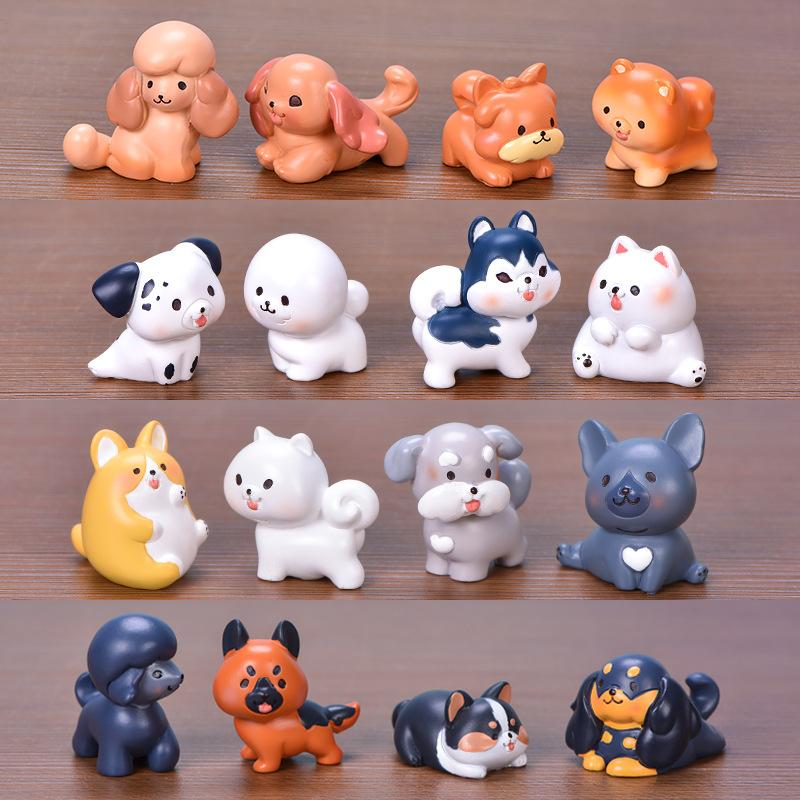 狗狗家族 微景观树脂小摆件盆景多肉装饰柯基比熊萨摩博美宠物狗
