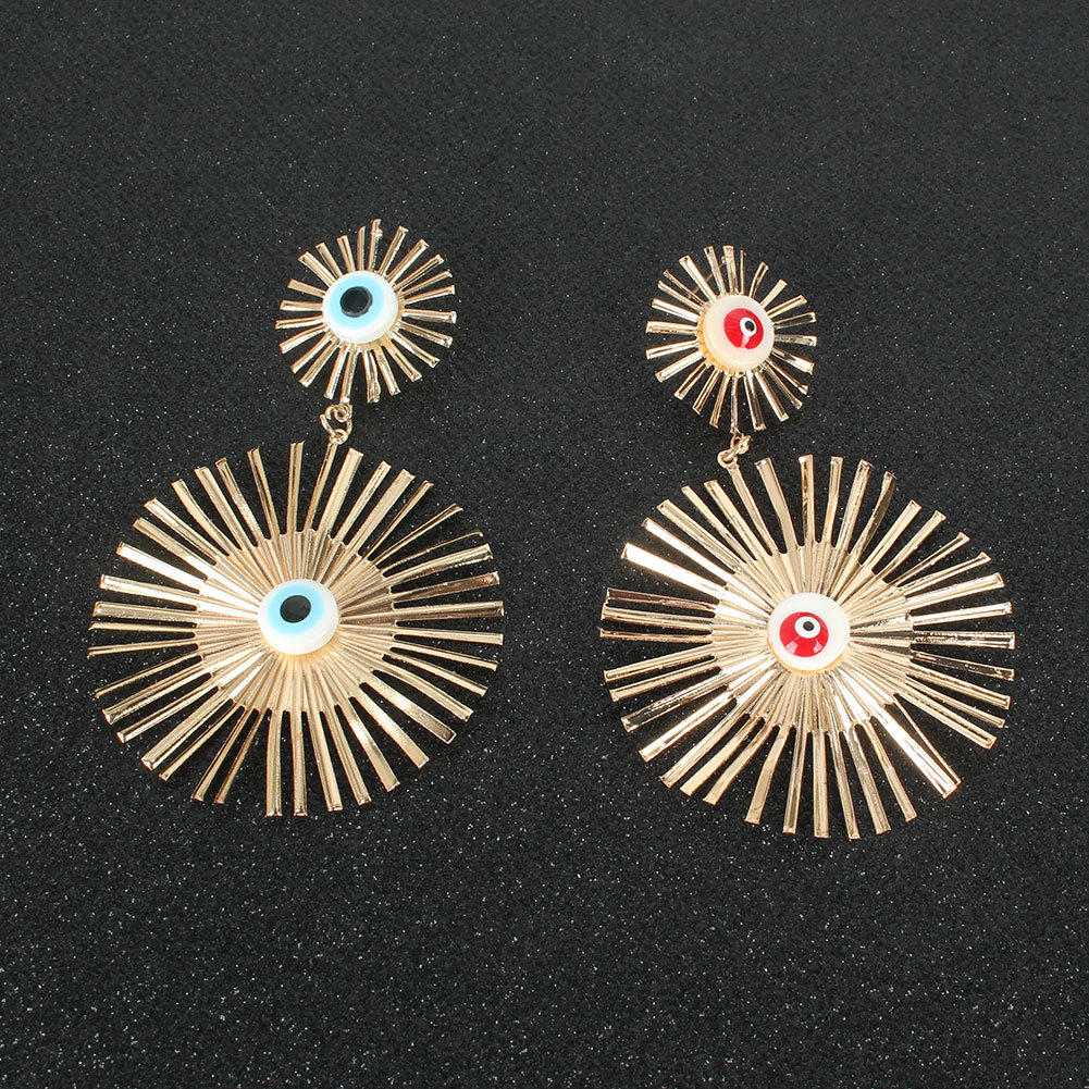 Bohemian retro alloy drop eye gold earrings wholesale nihaojewely NHCT240526