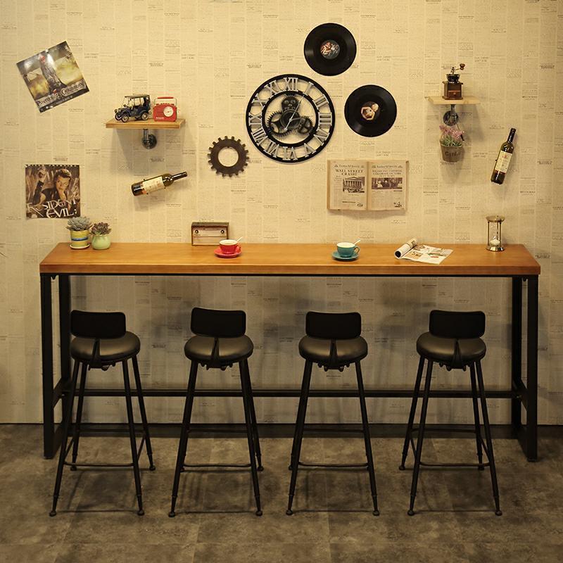 美式实木吧台 工业风户外咖啡厅吧台桌椅 酒吧餐厅长方形吧台桌