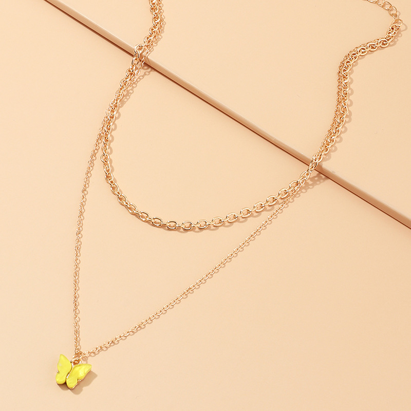 fashion jewelry design sense style geometric necklace colorful acrylic butterfly necklace wholesale nihaojewelry NHNZ227773