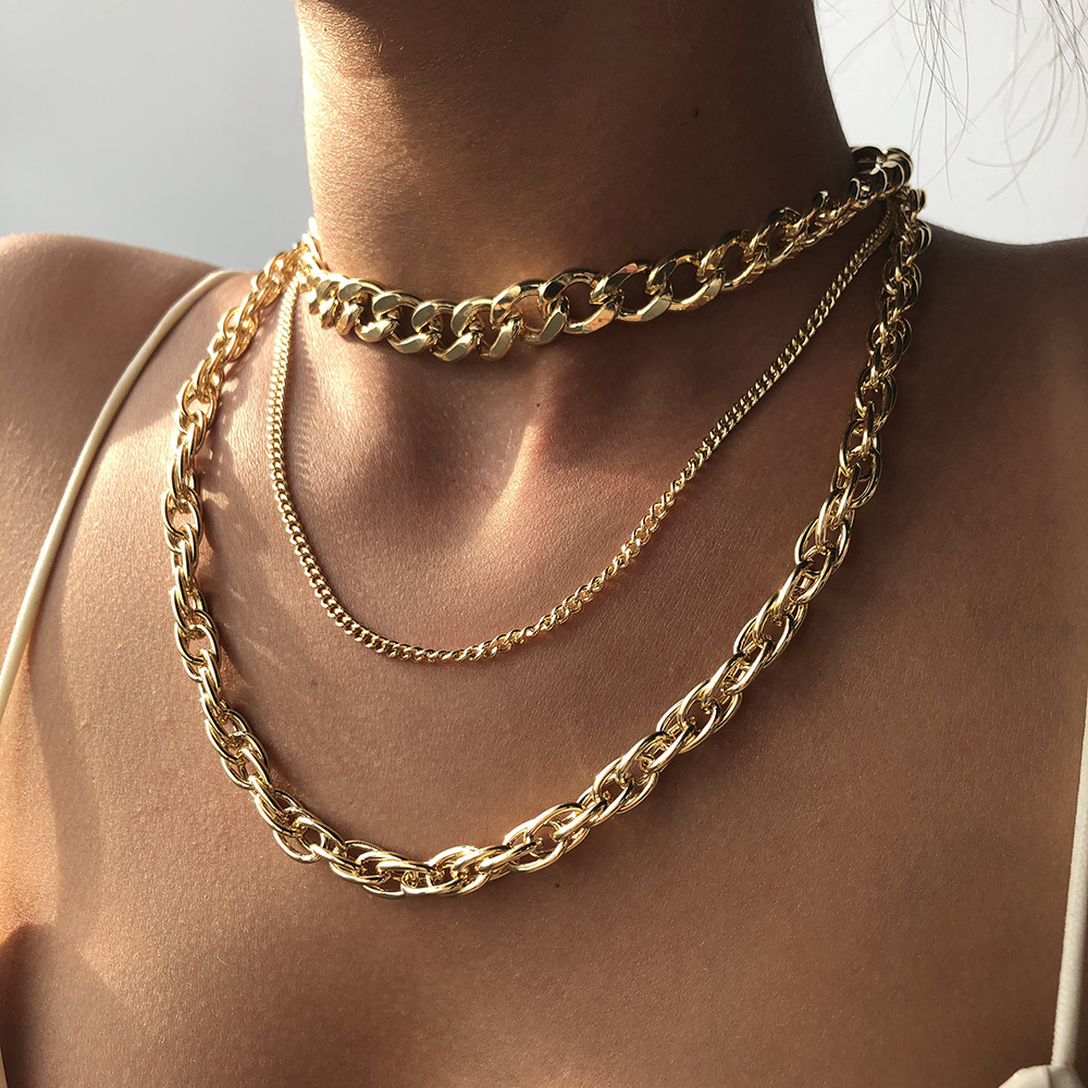 European and American Popular Punk Hip Hop Multi-layer Necklace Metal Thick Chain Necklace