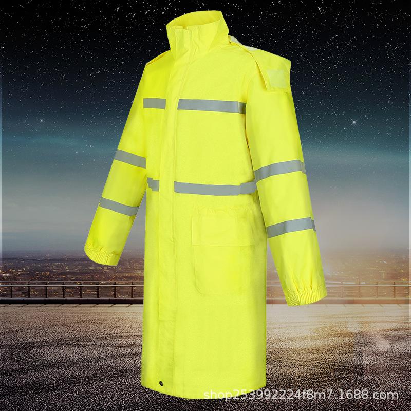 荧光黄连体执勤反光雨衣 户外长款双层安全警示 雨衣厂家直销定制