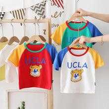 宝宝纯棉短袖T恤2021夏季新款男童拼色体恤衫儿童夏季打底衫韩版