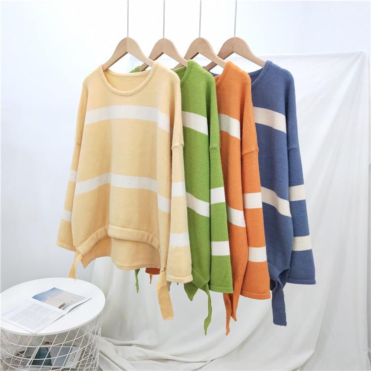 韩版秋冬新款宽松条纹针织女装长袖下摆抽绳套头好看的毛衣