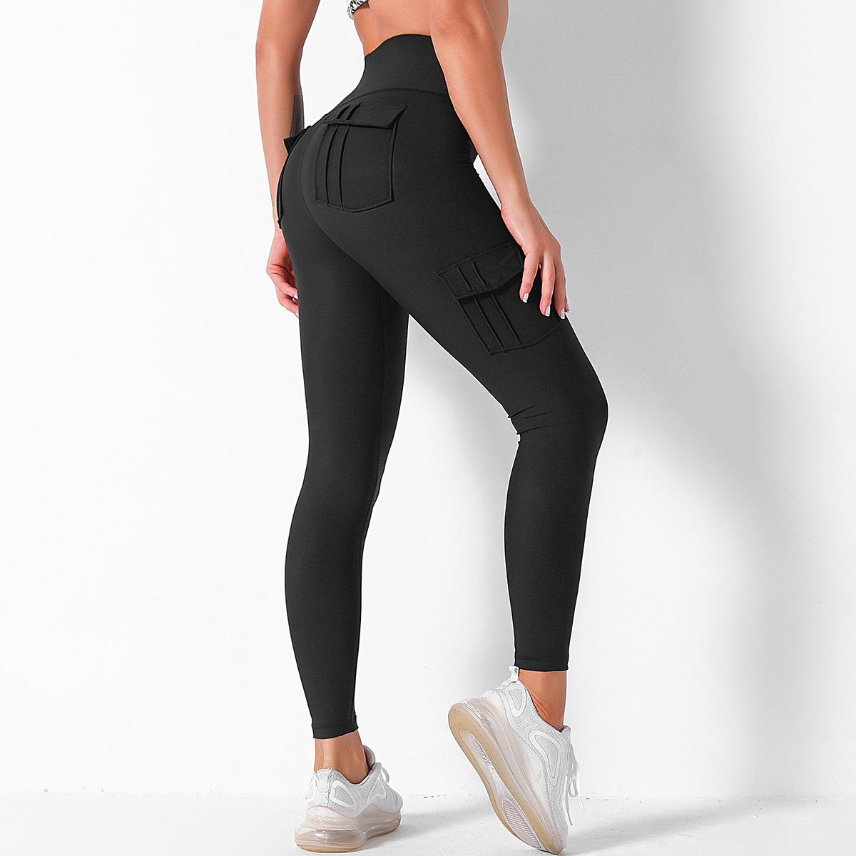 high waist hip stitching color sports yoga pants NSLX9047