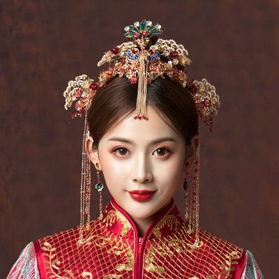 Xiuhe bride costume headdress with fringe crown Chinese wedding costume hair accessories antique phoenix crown with accessories