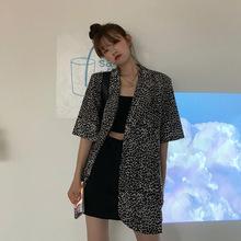 夏季2020新款宽松休闲薄款西装外套女复古港味豹纹短袖小西服上衣