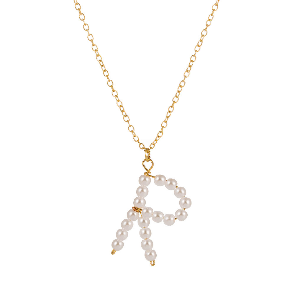 new fashion simple wild hand-made perforated pearl alloy English letters necklace for women NHAN257861