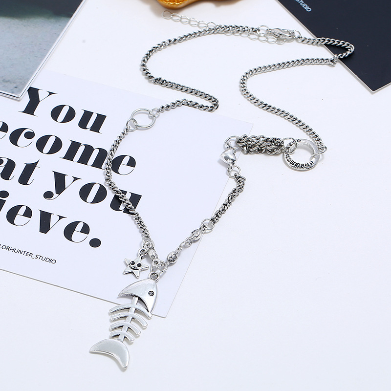 Punk style long sweater chain creative simple fish bone necklace NHKQ204456