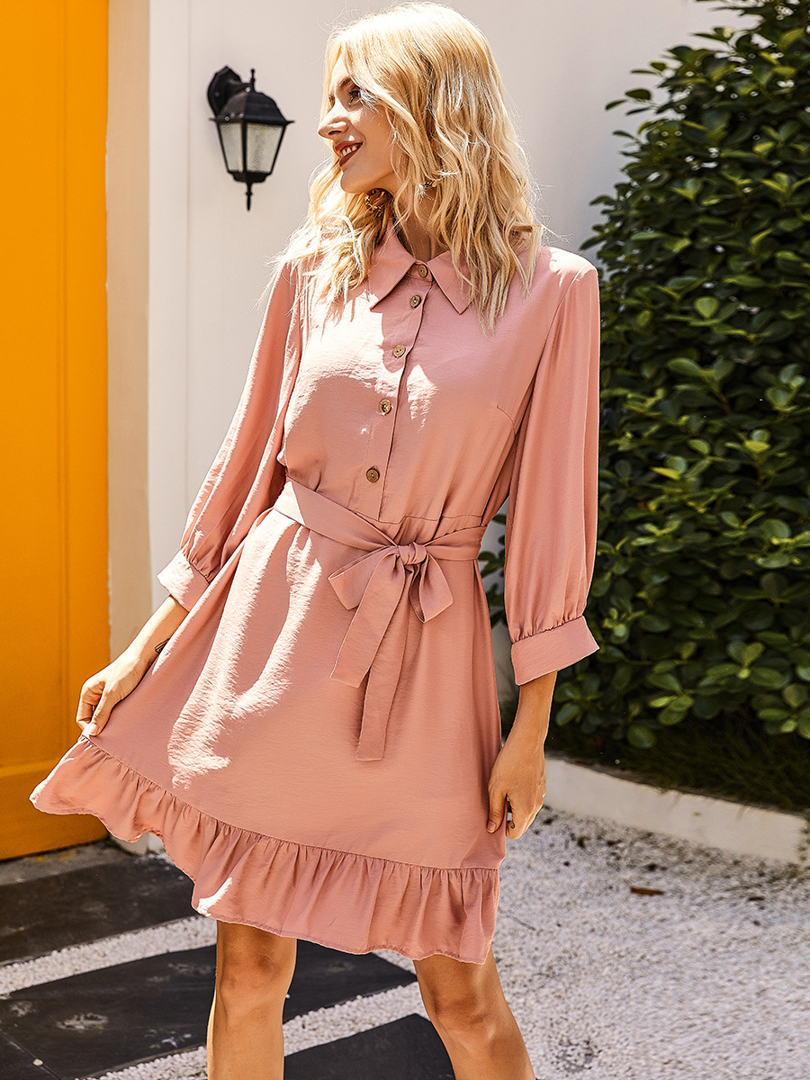 solid color casual nine-point sleeve dress  NSAL2110