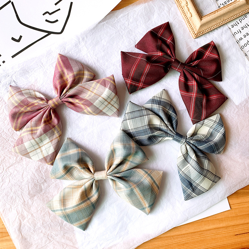 Big bow clip headdress satin lattice hairpin Korean girl hair accessory wholesale nihaojewelry NHSA229644
