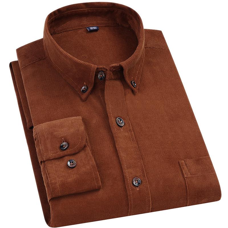 ER跨境男装春新款全棉韩版男士灯芯绒衬衫长袖复古衬衣贴牌加工