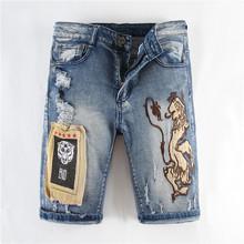 2020夏季新款男士牛仔短裤宽松直筒弹力狮子刺绣印花牛仔五分裤