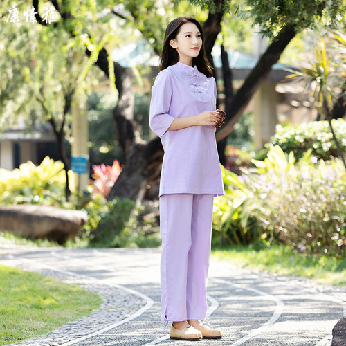 Cotton and linen yoga taichi clothings for women yoga Meditation zen tea clothes Tai Chi kung fu Buddhism lay meditation suit for female