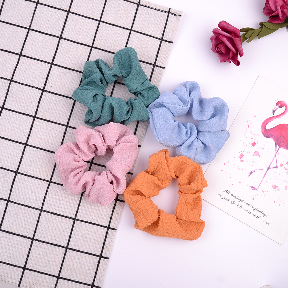 retro solid color circle ball hair scrunchies set NHMO337868