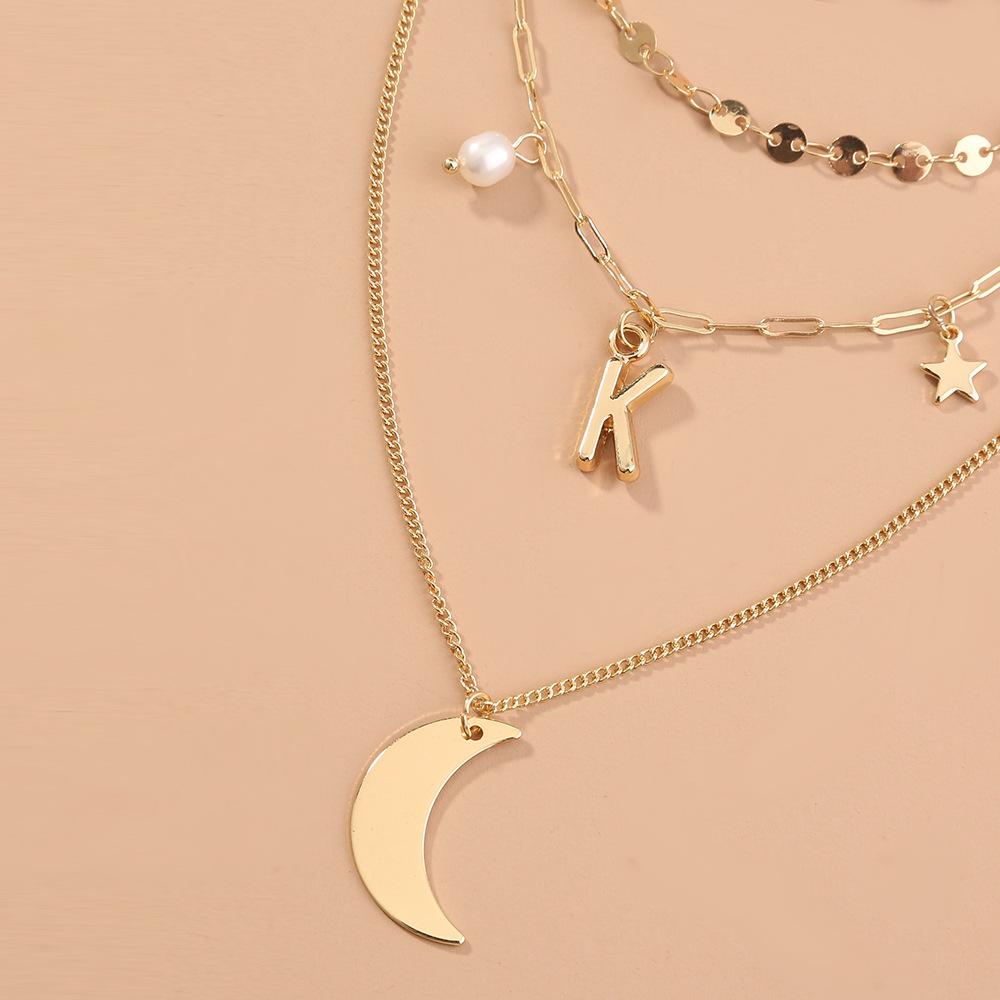 fashion metal Roman retro alphabet coin multi-layer long necklace for women NHAN243157