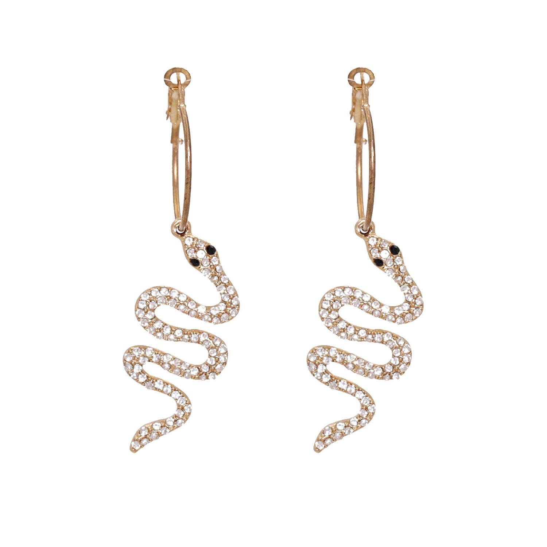 New fashion trend rhinestone animal snake exaggerated alloy women's earrings NHJJ258310