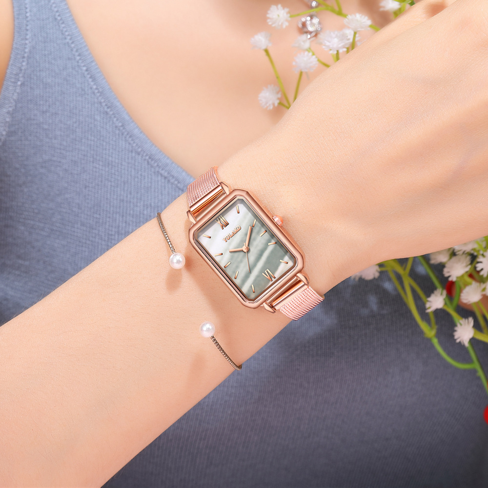 Fashion Blue Rectangular Dial Mesh Belt Waterproof Quartz Ladies Watch