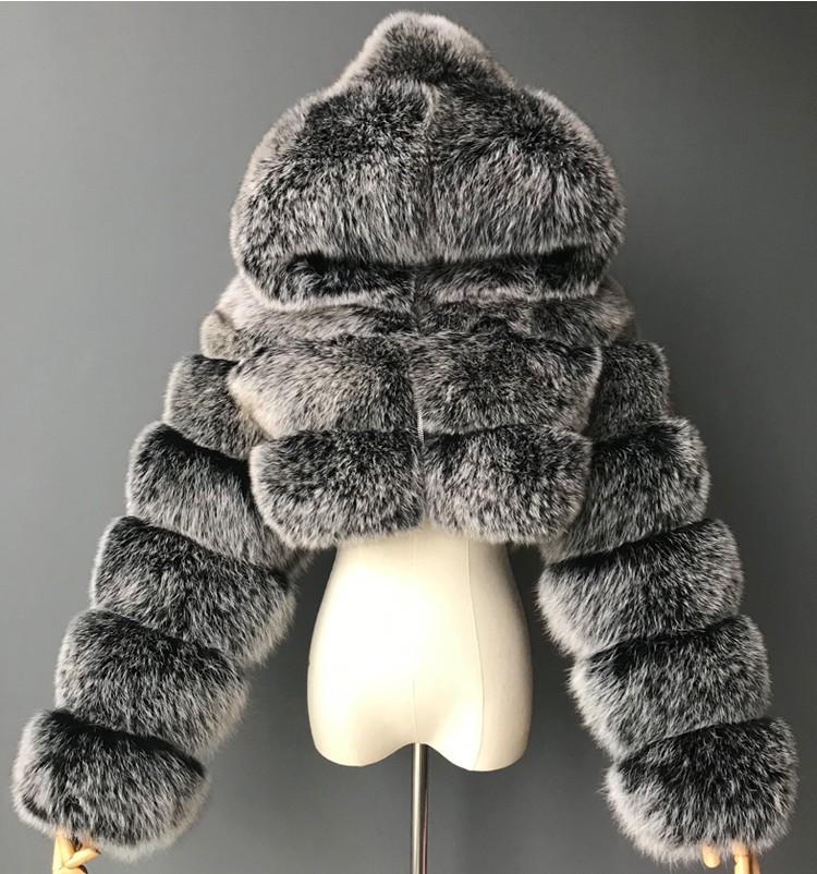 跨境热卖欧美皮草外套短款带帽仿皮草外套仿狐狸毛长袖拼接女外套