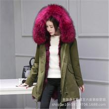 新款派克服真毛女 20年冬季新款韓版加絨棉服 真毛毛領可拆卸