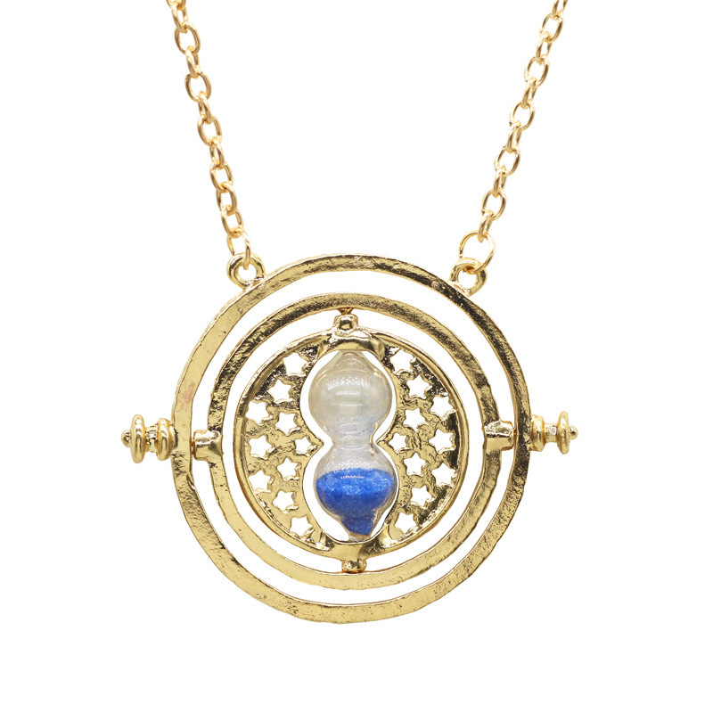 Cross-border hot selling jewelry in Europe and America Harry Potter Time Time Converter Hourglass Necklace AliExpress Hot Sale Blue rough sand