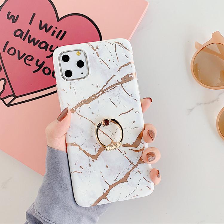 适用iphone12手机壳创意大理石imd烫金指环支架新款S20plus保护套