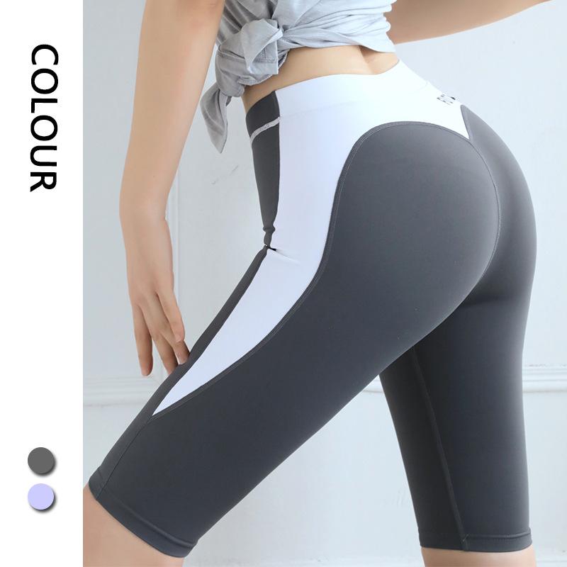 春夏新款瑜伽服健身服女子运动裤紧身中裤速干跑步跨境蜜桃短裤
