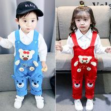 寶寶背帶褲春秋新款軟牛仔長褲男童女童嬰兒幼兒0123歲寶寶牛仔褲