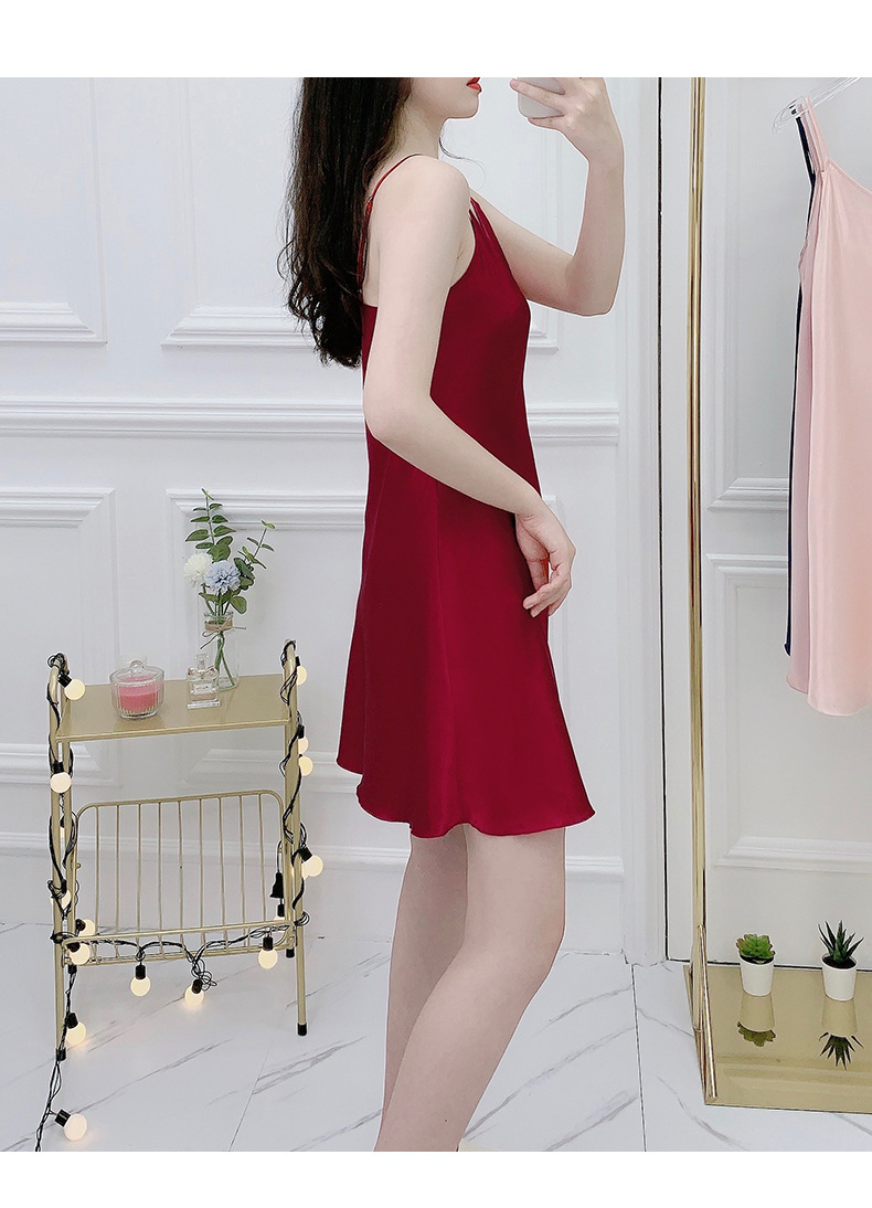 summer thin section ice silk pajamas gathered solid color halter strap nightdress wholesale nihaojewelry NHJO230293