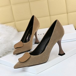 282-1 Korean fashion Retro High Heel cat heel suede shallow mouth pointy sexy thin solid color button decorative single shoes