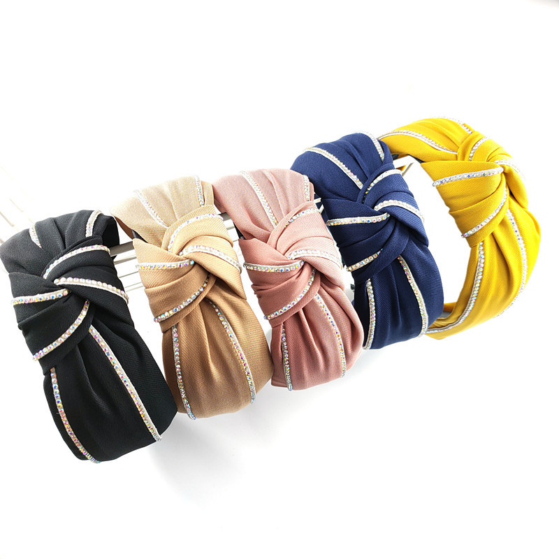 Korean high-end color rhinestone knotted headband wide-brimmed simple fabric exquisite hairpin fashion pressure headband wholesale nihaojewelry NHUX222362