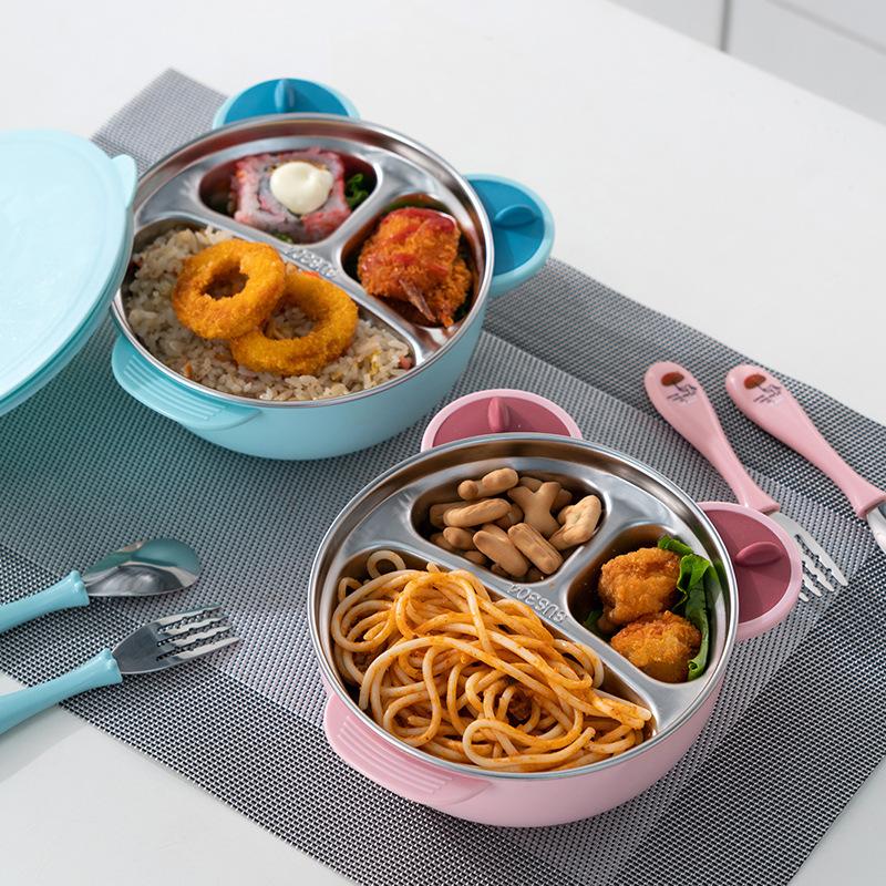 宝宝注水保温饭盒儿童餐具套装分格盘304不锈钢外出便携吸盘碗