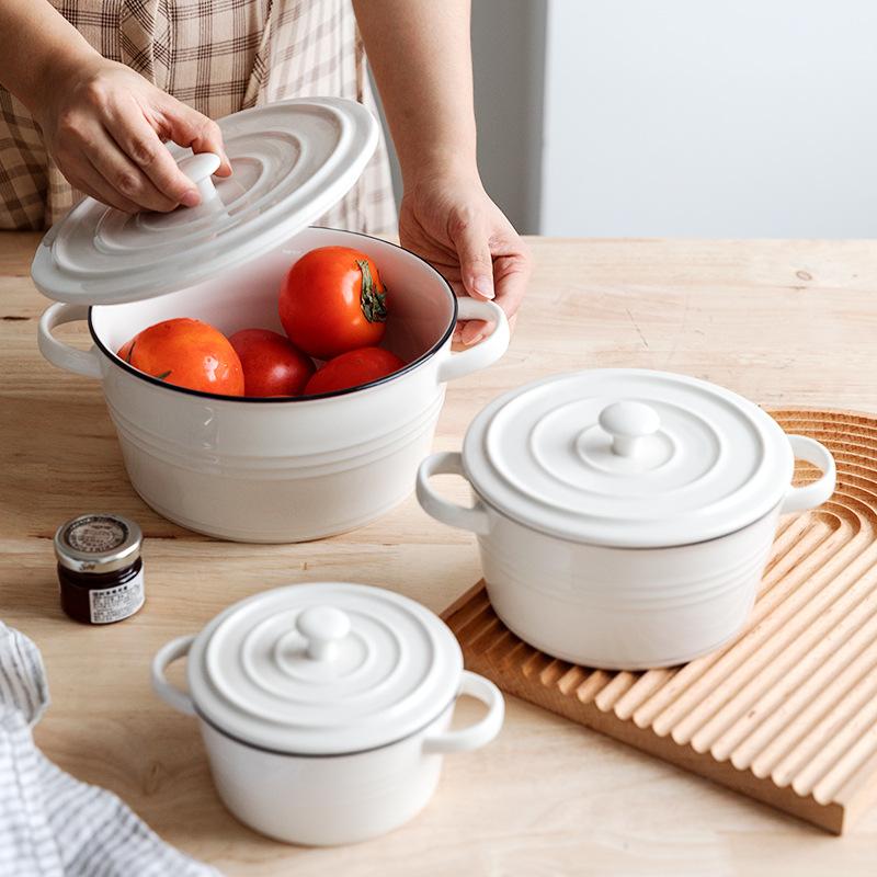 蓝调北欧风格简约陶瓷双耳碗沙拉碗水果面汤碗甜品早餐燕麦碗餐具
