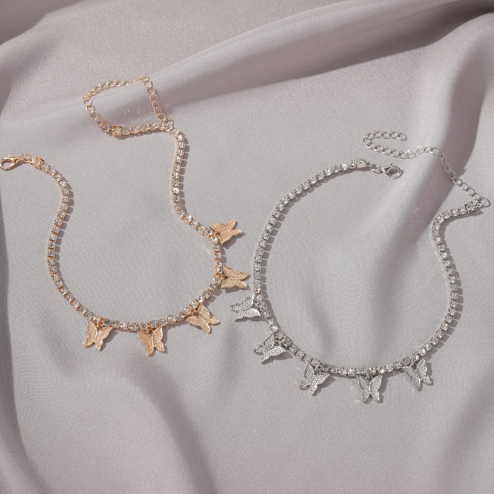 Fashion hot sale rhinestone butterfly pendant women's necklace insect necklace hip hop necklace wholesale nihaojewelry NHDP237057