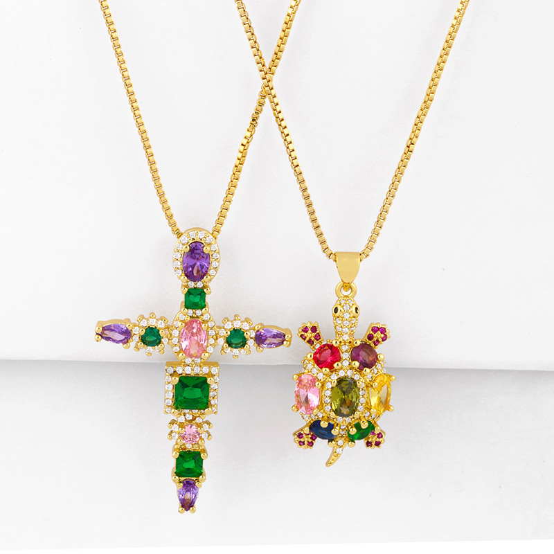 fashion colorful zircon copper necklace wholesale accessories small turtle necklace colorful zircon cross necklace pendant jewelry NHAS216148