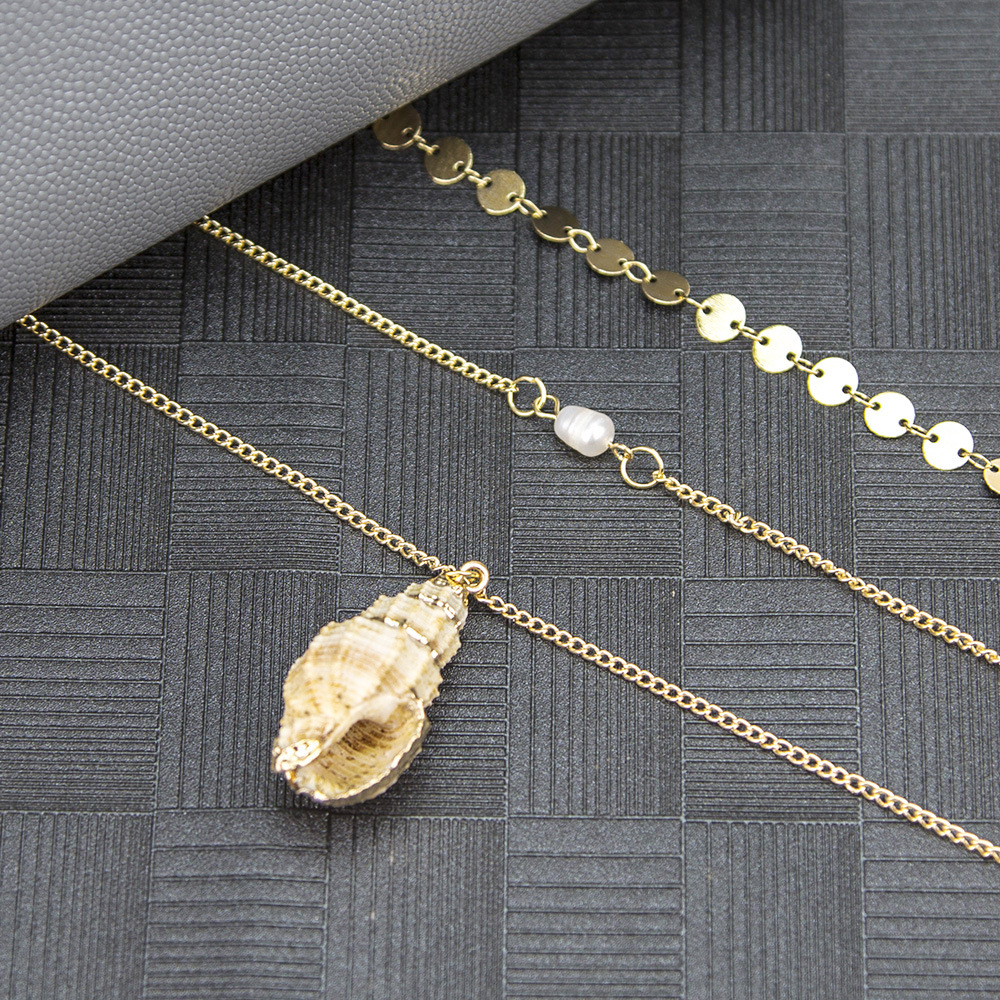 New accessories alloy clavicle chain bohemian natural pearl beach shell multilayer necklace NHMD204432