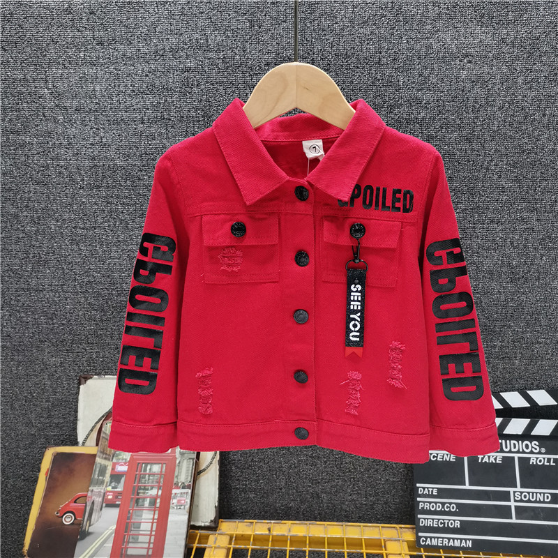 Boys' Korean Cowboy Jacket Fall New Baby Personalized Letters Hole Coat